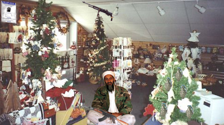 Osama bin Laden in an Xmas store