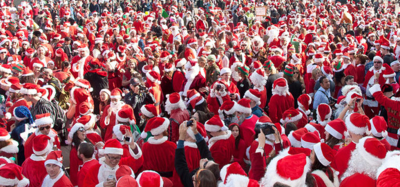 Crowd of Santas