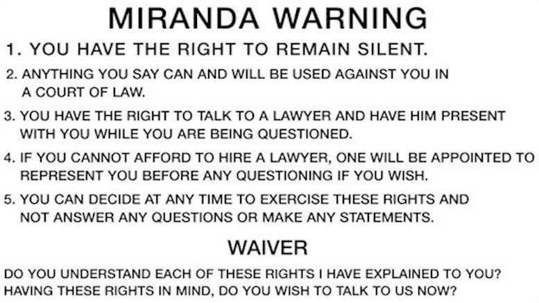 Miranda card